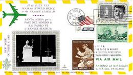 USA - 1965 NEW YORK Visita Papa PAOLO VI Su Busta KimCover Viaggiata Per Il Vaticano - Sul Retro Ema Red Meter - 2335 - Papi