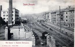SESTRI PONENTE-Via Cavour E Stazione Ferroviaria-ORIGINALE D'Epoca Al100%-2 Scann- - Genova