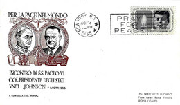 USA - 1965 NEW YORK Visita Papa PAOLO VI Incontro Col Presidente Usa JOHNSON Su Busta Roma - 2336 - Papi