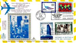 USA - 1965 NEW YORK Visita Papa PAOLO VI Volo Di Ritorno Su Busta KimCover Viaggiata (2 Ann. Usa E Vaticano) - 2337 - Papi