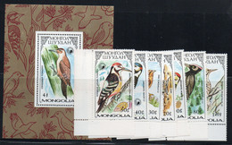 BIRDS -  MONGOLIA- WOODPECKERS SET OF  7 + S/SHEET  MINT NEVER HINGED SG CAT £13.85 - Piccioni & Colombe