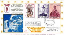 VATICANO - 1968 Volo Papa Paolo VI A Taranto Annullo Speciale Vaticano Su Busta KimCover Viaggiata - 2326 - Papi
