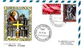 ITALIA - 1968 TARANTO Visita Papa Paolo VI Natale Tra I Lavoratori 2 Ann. Su Busta Roma Viaggiata Per Vaticano - 2327 - Papi