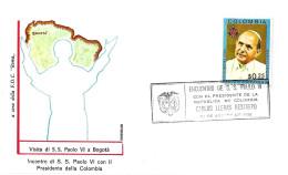 COLOMBIA - 1968 BOGOTA' Visita Papa PAOLO VI Incontro Col Presidente Restrepo Su Busta Speciale Roma - 2342 - Papi
