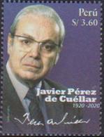 PERU, 2021, MNH, LEADERS, POLITICIANS, UN, J. P. DE CUELLAR,1v - Altri