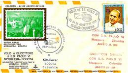 "COLOMBIA - 1968 BOGOTA'visita Papa PAOLO VI Incontro Con ""campesinos"" Su Busta KimCover - 2 Ann. + Timbro Volo - 2344 - Papi"