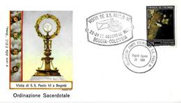 COLOMBIA - 1968 BOGOTA' Visita Papa PAOLO VI Ordinazioni Sacerdotali - Annulli Speciali Su Busta Roma - 2345 - Papi