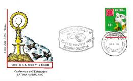 COLOMBIA - 1968 BOGOTA' Visita Papa PAOLO VI Inauguraz. Conf. Episcopato Latino Americ - Ann.spec. Su Busta Roma - 2347 - Papi