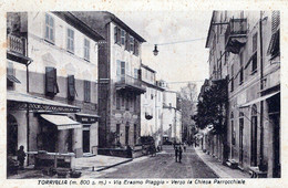 TORRIGLIA-GE-( M. 800 S.m.) Via Erasmo Piaggio-Verso La Chiesa Parrocchiale-Vg Il 27-8-1949-ORIGINALE D'Epoca Al100%-2 S - Genova