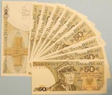 POLEN - POLAND 10 Pieces á 50 Zlotych Banknotes 1986 Pick 142c UNC  (11898 - Pologne