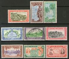 COOK IS. 9 Sellos MAPAS, AVIÓN, BUQUE, ESTATUA, CHOZAS 1949 - Cookeilanden