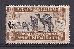 COLONIE ITALIANE LIBIA 1929 3°FIERA DI TRIPOLI SASS. 85  MLH VF - Libia
