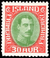 Iceland 1931-37 30a Yellow-green And Scarlet (rounded Corner) Lightly Mounted Mint. - Unused Stamps