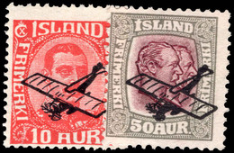 Iceland 1928-29 Air Set Lightly Mounted Mint, 50a No Gum. - Unused Stamps