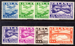 Iceland 1934 Air Set Including All Perf Variations Lightly Mounted Mint. - Unused Stamps