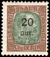 Iceland 1921-30 20a On 25a Green And Brown Lightly Mounted Mint. - Unused Stamps