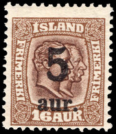 Iceland 1921-30 5a On 16a Brown Lightly Mounted Mint. - Unused Stamps