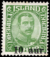 Iceland 1921-30 10a On 5a Green Lightly Mounted Mint. - Unused Stamps