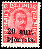 Iceland 1923 20a Official Provisional Lightly Mounted Mint. - Unused Stamps