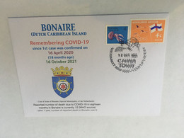 (5 A 18) 1st Case Of COVID-19 Reported By - Bonaire (Dutch Caribbean Island) (18 Month Ago 16-4-2020) (Bonaire Stamp) - Disease