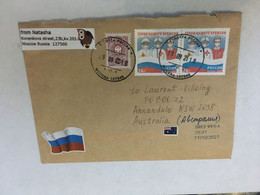 (5 A 18) Russia - Letter Posted To Australia - During COVID-19 Pandemic - With COVID-19 X 2 Medical New Russian Stamps - Disease