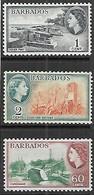 Barbados   1956   Sc#235-6, 245    1c, 2c, 60c QE   MLH   2016 Scott Value $18 - Barbados (...-1966)