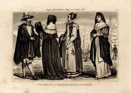 1846 Print Mode Fashion Suit Clothes Belgium 17th Century - Stampe & Incisioni