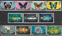 Solomon Islands   1972   Sc#232-42   11 Diff Butterflies, Fish, Flowers  Used   2016 Scott Value $7.30 - British Solomon Islands (...-1978)