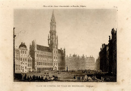 1846 Print Architecture Belgium Brussels Town Hall Gothic - Stampe & Incisioni