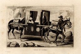 1846 Print Portugal Stretcher Carriage Lady Transport Donkey M - Stampe & Incisioni