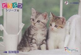 RARE Carte JAPON  / Série Animaux Rakuyan - ANIMAL - CHAT & Brosse à Dents - CAT JAPAN Prepaid Card / Dental - Gatti