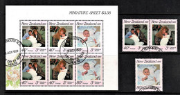 New Zealand 1989 Health - Royalty - Andrew, Sarah, Beatrice Set Of 3 +  Sheetlet Used - Used Stamps