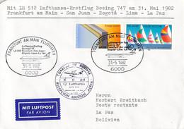 Germany First Flight Cover 1982 Frankfurt A/Main - San Juan - Bogota - Lima - La Paz Lufthansa Boeing 747 (DD31-38) - Aerei
