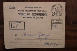 Martinique 1958 Carbet Cover Enveloppe PTT Recouvrement France Oblit. Mécanique Taxe Recommandé - Briefe U. Dokumente