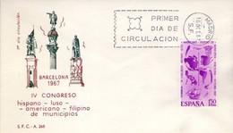[E0046] España 1967, FDC IV Congreso Americano-Luso-Hispano-Filipino De Municipios (NS) - FDC