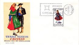 [E0047] España 1967, FDC Trajes Típicos: Cáceres (NS) - FDC