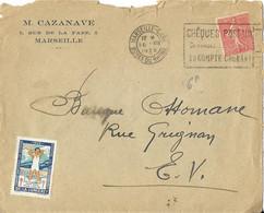 LETTRE A ENTETE CAZANAVE MARSEILLE - SEMEUSE, FLAMME CHEQUES POSTAUX 1929, VIGNETTE TUBERCOLOSE 1929, MARSEILLE ARRIVEE - Covers & Documents