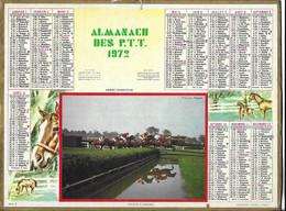 CALENDRIER ALMANACH DES P.T.T. 1972 DEPARTEMENT DU PAS DE CALAIS, HIPPISME COURSE DE HAIES A ENGHIEN, CHEVAUX, A VOIR - Formato Grande : 1971-80