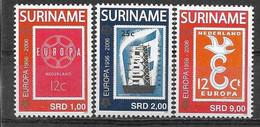 2006 SURINAM 1799-801 + BF 103** Cinquantenaire Timbres Europa , Timbre Sur Timbre, Avions, Côte 35.00 - Surinam