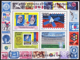Uruguay 1976 MNH SS, Soccer World Cup Argentina, Red Cross, Nobel, Dunant, Space, Olympic - 1978 – Argentine