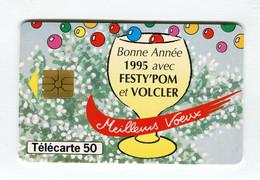 Telecarte °_ France 50u-En 1110-VARIETE-gem.Encoches De Puce-12.94-Voeux 1995-Volcler Festy.Pom- R/V - 50 Unità