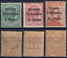 TERRE REDENTE 1918 TRENTINO ALTO ADIGE SERIE MICHETTI SOPR. 'VENEZIA TRIDENTINA' H. 5/10/20 NUOVI MNH ** SASSONE 28/30 - Trentino