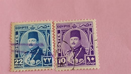 EGYPTE - EGYPT - 2 Timbres 1944 : Portrait Du Roi Farouk - Used Stamps