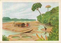 GABON - Sur L'Ogooué En Saison Sèche - Hutte De Pêcheurs - Peinture F. GREBERT - Gabun