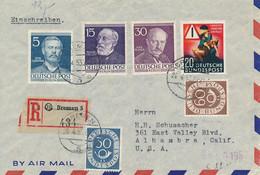 Berlin 92, 96, 99 & Bundes 132.135 & 162 Auf Einschreiben Bremen 26.4.53 Nach USA Alhambra 29. April 1953 - Covers & Documents