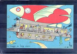 Carte Illustrée. Dirigeable. Un Voyage Au Long Cours - Aeronaves