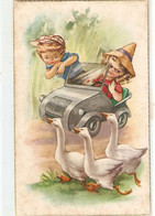 """""""Boy And Girl In Car And The Gooses"""" Nice Vintage Spanish Numorous Postgcard - Humorkaarten"""