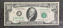 США 10 ДОЛЛАРОВ 1977 C3 НИЗКИЙ НОМЕР (ФИЛАДЕЛЬФИЯ) № C 00002649 A  'aUNC' (см.фото) - Bilglietti Della Riserva Federale (1928-...)