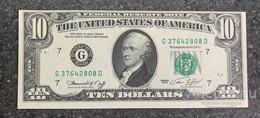 США 10 ДОЛЛАРОВ 1974 G7 (ЧИКАГО) № G 37642808 D 'UNC!!!' (см.фото) - Bilglietti Della Riserva Federale (1928-...)