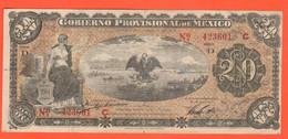 Messico 20 Pesos 1914 Mexico Gobierno Provisional De Carranza Garza Governo Provvisorio Messicano Provisional Banknotes - Messico